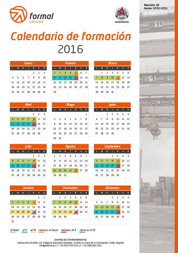 Calendario formación 2016