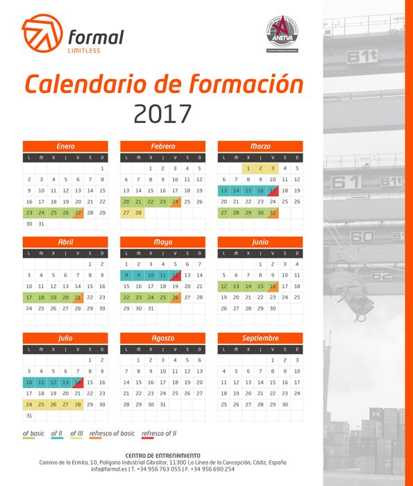 Calendario de formación 2017